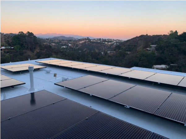 Flat Roof Replacement and solar installation in Hollywood hills